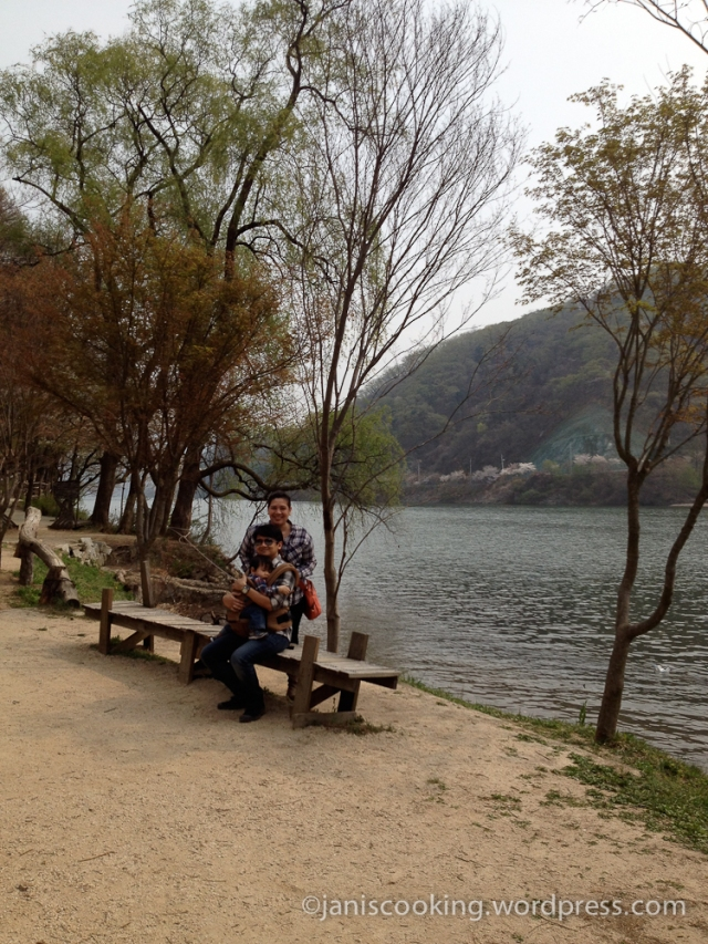 hubby and i had a picture at this exact same spot in 2012 and we can't leave nami island without having one with our baby