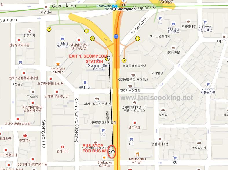 Seomyeon Bus Stop Bus 88 Taejongdae janiscooking.net