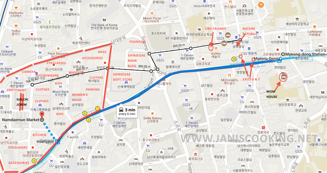 janiscooking map myeongdong to namdaemun